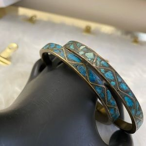 Antique Engraved Turquoise Chip Bangles